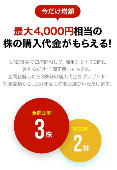 LINE証券の新規開設で4000円相当の株プレゼント!