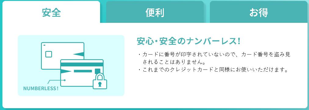 三井住友カード NLはナンバーレスのカード