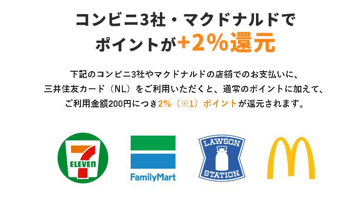 コンビニ3社(セブンイ-レブン、ファミリーマート、ローソン)とマクドナルドで買い物をするとポイント還元率5%!