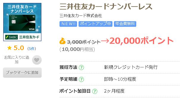 ポイントサイトちょびリッチ経由で三井住友カード NL申し込み