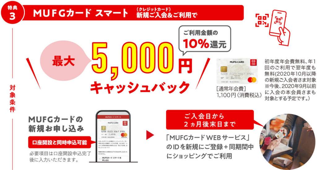 特典③「MUFGカード」(クレジットカード利用)の入会・利用