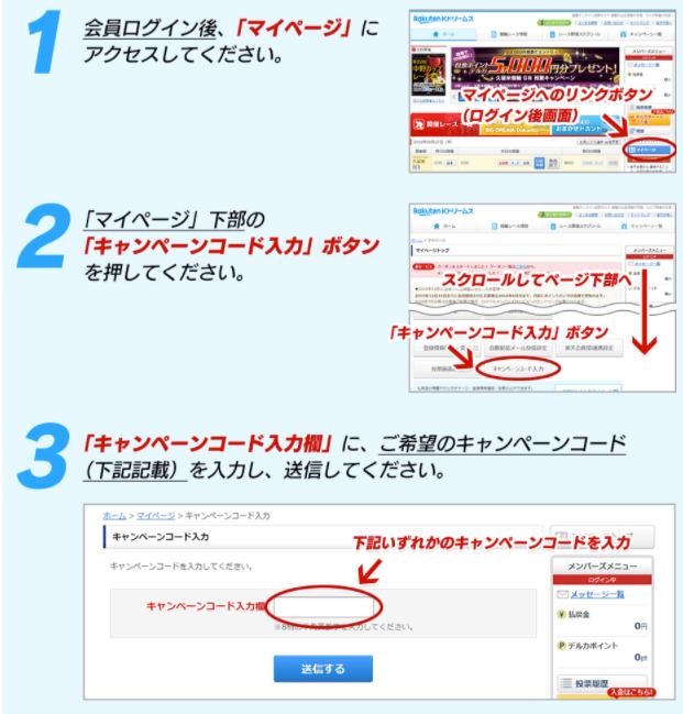 Kドリームスのキャンペーンコード入力方法